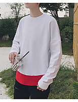cheap -Men's Petite Going out Sweatshirt Solid Color Block Round Neck Micro-elastic Polyester Long Sleeve Autumn/Fall