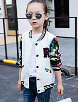 cheap -Girls' Print Patchwork Jacket & Coat,Rayon Long Sleeves Simple Active White Blushing Pink