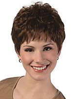 Women Synthetic Wig Dark Brown Short Straight Hair With Bangs Natural Wig