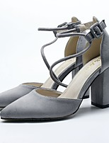 cheap -Women's Shoes Leatherette Spring Summer Basic Pump Heels Chunky Heel Pointed Toe Buckle for Casual Dress Gray Black