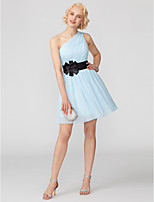 A-Line Princess One Shoulder Short / Mini Chiffon Cocktail Party Dress with Bow(s) Sash / Ribbon Pleats by TS Couture®