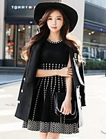 preiswerte -Damen A-Linie Hülle Strickware Kleid-Party Ausgehen Einfach Street Schick Geometrisch Jacquard Rundhalsausschnitt Übers Knie Ärmellos