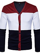 cheap -Men's Daily Casual Regular Cardigan,Color Block V Neck Long Sleeves Polyester Spandex Winter Fall Thick Micro-elastic
