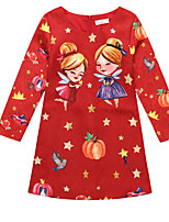 Girl's Christmas Print Dress,Polyester Winter Long Sleeve Cartoon Red