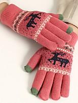 Недорогие -Унисекс Для офиса На каждый день До запястья С пальцами,Зима Другое Северный олень Темно синий Пурпурный