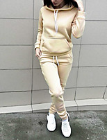 Women's Sports Casual/Daily Street chic Winter Fall Set Pant Suits,Solid Hooded Long Sleeve Polyester