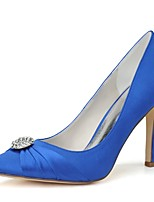 cheap -Women's Shoes Satin Spring Summer Basic Pump Wedding Shoes Stiletto Heel Pointed Toe Rhinestone for Wedding Party & Evening Blue White