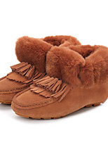 cheap -Women's Shoes Feather/ Fur PU Winter Comfort Boots Flat Round Toe Closed Toe Booties/Ankle Boots for Casual Brown Beige