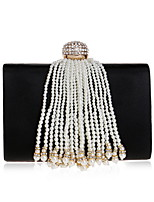 cheap -Women Bags Polyester Evening Bag Pearl Detailing Tassel for Wedding Event/Party All Season Almond Red Black White
