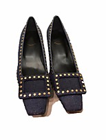 cheap -Women's Shoes Denim Spring Fall Comfort Heels Chunky Heel Square Toe Buckle for Casual Dark Blue Black