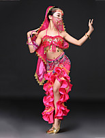 cheap -Belly Dance Outfits Children's Performance Spandex Paillette Cascading Ruffles Sleeveless Dropped Skirts Bra Belt Headpieces