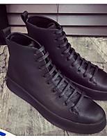 Недорогие -Для мужчин обувь Кожа Весна Осень Удобная обувь Кеды для Повседневные Белый Черный Красный