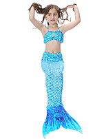 cheap -The Little Mermaid Swimwear Bikini Kid Christmas Masquerade Festival / Holiday Halloween Costumes Rainbow Fuschia Green Blue Solid Color