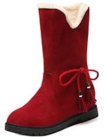 abordables -Mujer Zapatos Ante Invierno Otoño Confort Botas de nieve Botas Tacón Plano Dedo redondo Mitad de Gemelo para Casual Negro Marrón Rojo