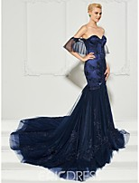 cheap -Mermaid / Trumpet Off Shoulder Court Train Tulle Formal Evening Dress with Appliques / Ruffles / Pleats by TS Couture®