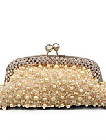 cheap -Women Bags Polyester Evening Bag Crystal Detailing Pearl Detailing for Wedding Event/Party All Season Champagne