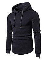 cheap -Men's Plus Size Sports Hoodie Solid Hooded Micro-elastic Cotton Long Sleeve Winter Spring/Fall