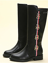 cheap -Girls' Shoes Cowhide Winter Fall Comfort Fashion Boots Boots Knee High Boots for Casual Black