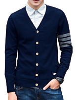 cheap -Men's Daily Work Casual Active Street chic Regular Pullover,Solid Striped V Neck Long Sleeves Polyester Spandex Japanese Cotton Summer