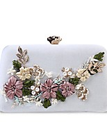 cheap -Women Bags Polyester Evening Bag Crystal Detailing Flower(s) Pearl Detailing Tassel for Wedding Event/Party All Season White