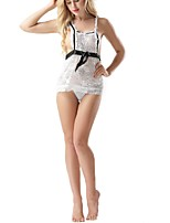 cheap -Women's Lace Lingerie Ultra Sexy Nightwear,Off Shoulder Patchwork-Translucent Nylon White