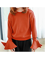 cheap -Girls' Solid Blouse,Cotton Winter Fall Long Sleeve Simple Orange