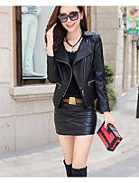 cheap -Women's Daily Casual Winter Fall Leather Jacket,Solid Shirt Collar Long Sleeve Short PU