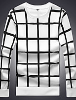 cheap -Men's Casual/Daily Sweatshirt Houndstooth Round Neck Micro-elastic Cotton Long Sleeve Fall