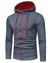 cheap -Men's Plus Size Sports Casual/Daily Hoodie Solid Color Block Hooded Hoodies Inelastic Cotton Long Sleeve Spring/Fall