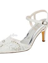 abordables -Mujer Zapatos Satén Elástico Verano Pump Básico Zapatos de boda Tacón Stiletto Dedo Puntiagudo Cristal para Vestido Fiesta y Noche Marfil