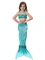 cheap -The Little Mermaid Swimwear Bikini Kid Christmas Masquerade Festival / Holiday Halloween Costumes Yellow Green Red Purple Blue Solid