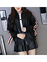 cheap -Women's Going out Street chic Winter Fall Leather Jacket,Solid Print Round Neck Long Sleeve Regular Polyester