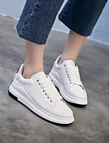 preiswerte -Damen Schuhe Echtes Leder Frühling Herbst Komfort Sneakers Flacher Absatz Runde Zehe für Normal Weiß