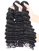 Недорогие -3 предмета Черный Крупные кудри Перуанские волосы Ткет человеческих волос Наращивание волос