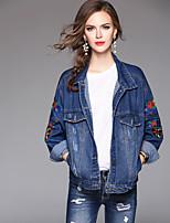 cheap -Women's Daily Casual Fall Denim Jacket,Print Shirt Collar Long Sleeve Regular Cotton