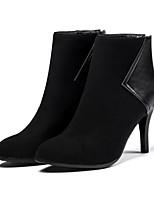 Недорогие -Для женщин Обувь Нубук Полиуретан Зима Осень Удобная обувь Оригинальная обувь Модная обувь Ботинки На шпильке Заостренный носок Ботинки