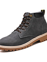 cheap -Men's Shoes Real Leather PU Leather Winter Fall Fluff Lining Comfort Boots Walking Shoes Stitching Lace for Casual Office & Career Camel