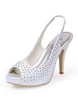 cheap -Women's Shoes Silk Spring Summer Basic Pump Wedding Shoes Stiletto Heel Peep Toe Rhinestone for Wedding Party & Evening White