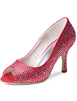 cheap -Women's Shoes Silk Spring Summer Basic Pump Wedding Shoes Cone Heel Closed Toe Rhinestone for Wedding Party & Evening Red