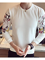 cheap -Men's Plus Size Going out Sweatshirt Solid Print Round Neck Micro-elastic Polyester Long Sleeve Autumn/Fall