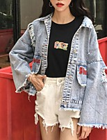 cheap -Women's Going out Casual/Daily Street chic Winter Fall Denim Jacket,Solid Letter Shirt Collar Long Sleeve Regular Polyester Pleated