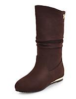 Недорогие -Для женщин Обувь Флис Зима Осень Модная обувь Ботильоны Ботинки Плоские Круглый носок Ботинки Сапоги до середины икры для Повседневные