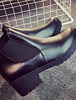 Недорогие -Для женщин Обувь Полиуретан Весна Осень Армейские ботинки Ботинки На толстом каблуке Круглый носок Сапоги до середины икры для