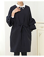 cheap -Women's Casual/Daily Simple Winter Trench Coat,Solid Round Neck Long Sleeve Long Cotton Acrylic Bow
