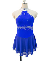 cheap -Figure Skating Dress Women's Girls' Ice Skating Dress Blue Red Spandex Lace Inelastic Performance Practise Skating Wear Solid Sleeveless