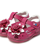 cheap -Girls' Shoes Leatherette Summer First Walkers Comfort Sandals Magic Tape Flower for Casual Dress Peach