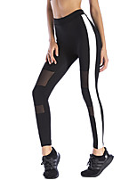 cheap -Women's Sporty Polyester Medium Stitching Legging,Patchwork Black