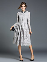 cheap -Women's Daily Going out Casual Street chic A Line Lace Dress,Solid Shirt Collar Knee-length Long Sleeve Cotton Polyester Winter Summer