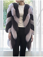 cheap -Women's Casual/Daily Going out Street chic Winter Fall Fur Coat,Solid Color Block Round Neck Long Sleeve Regular Faux Fur Pleated