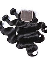 cheap -Natural Color Hair Weaves Hair Extensions 4 Pieces Brazilian Natural Black Human Hair Weaves 0.45